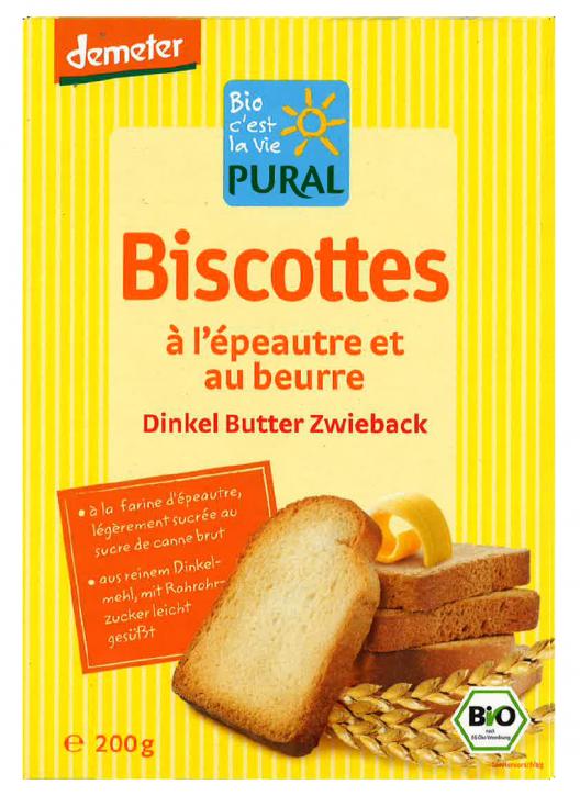 Bio Dinkel-Butter-Zwieback Biscottes 200g
