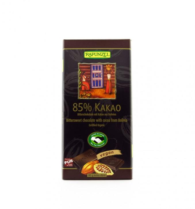 Bitterschokolade 85% Kakao, 80g Rapunzel