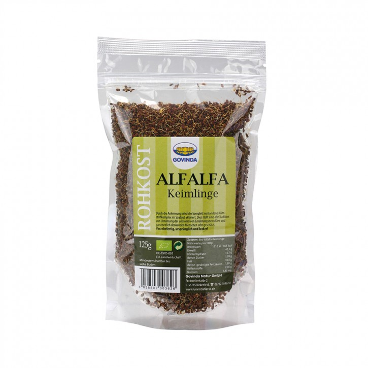 Keimlinge Alfa Alfa gekeimt bio 125g Rohkost Govinda