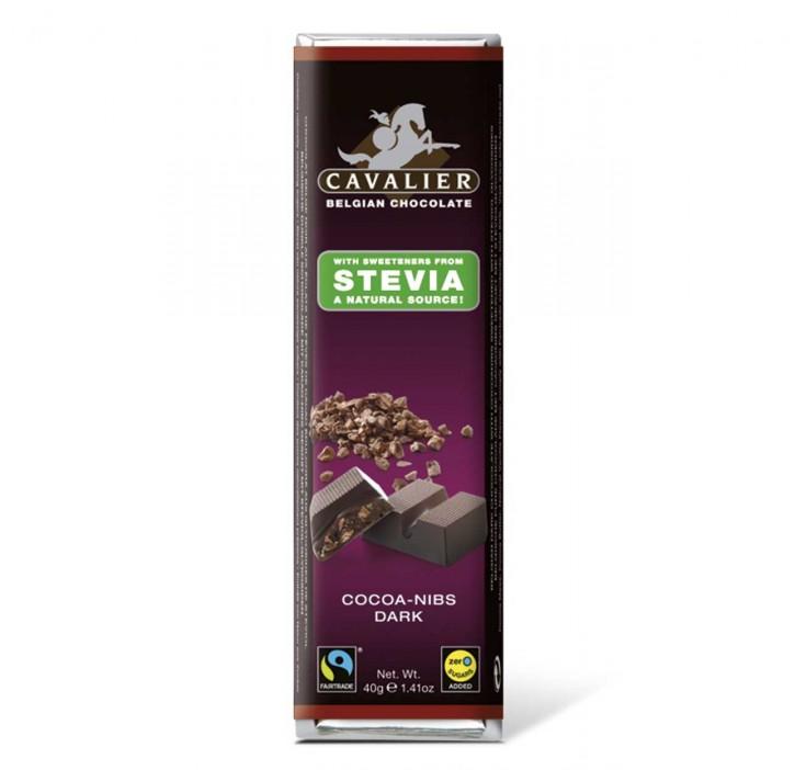 Stevia Dark Cocoa-Nibs Riegel 40g Cavalier