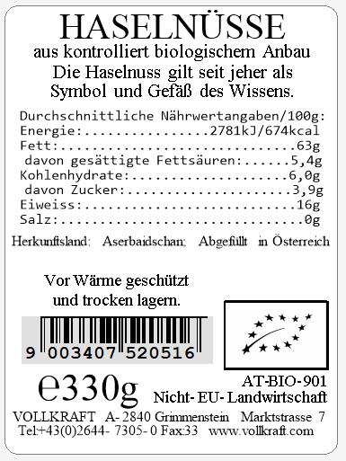Haselnüsse bio 330g Sondergrösse Vollkraft