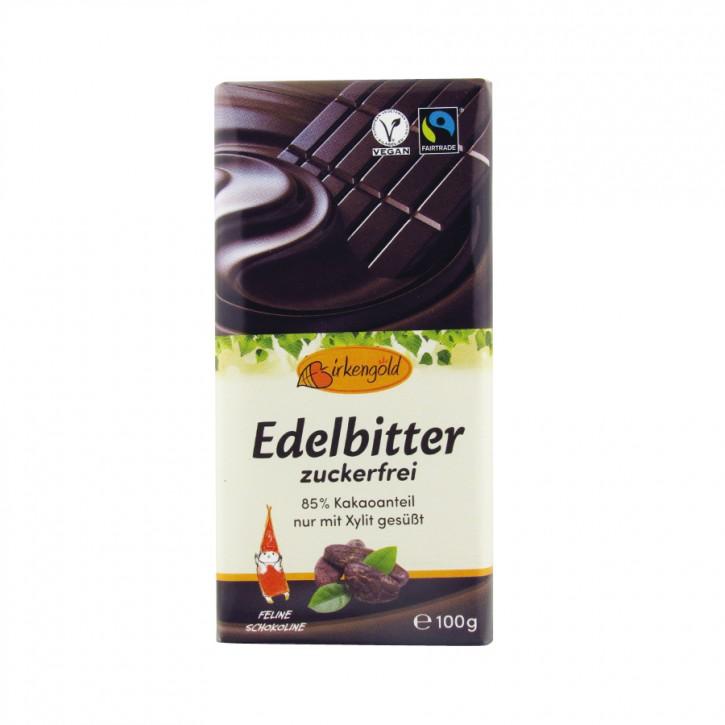 Xylit Schokolade Edelbitter 85% 100g Birkengold