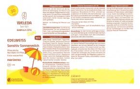 Edelweiß Sensitiv Sonnenmilch für Babys & Kids LSF30 Weleda 150ml