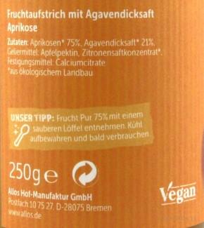 Allos Frucht Pur 75% Aufstrich Aprikose 250g