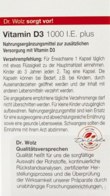 Vitamin D3 1000 I.E. plus  Dr. Wolz 60Stk