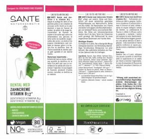 Zahncreme Vitamin B12  75ml  Sante