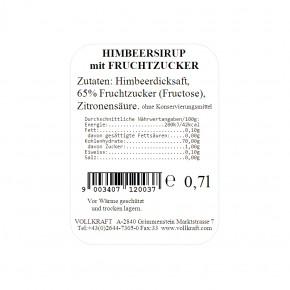 Himbeersirup mit Fruchtzucker 0,7l Vollkraft