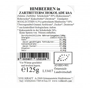 Schoko-Himbeeren Zartbitterschoko bio 125g