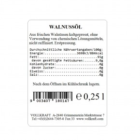 Walnussöl Erstpressung 0,25l Vollkraft