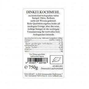 Bio Dinkelkochmehl weiß 750g Vollkraft