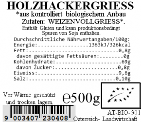 Holzhackergrieß bio 500g Vollkraft