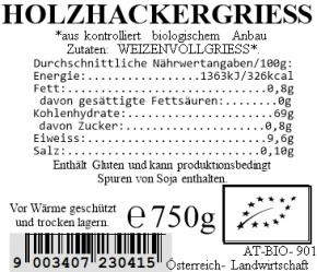 Holzhackergrieß bio 750g Vollkraft