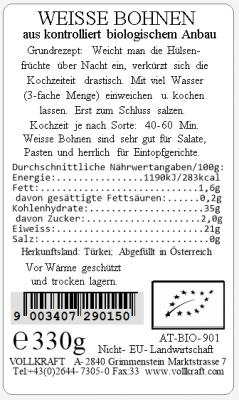 Weiße Bohnen bio 330g Vollkraft
