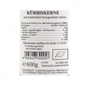 Kürbiskerne bio 600g Box Vollkraft