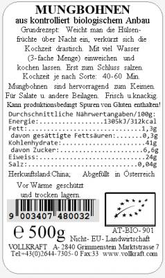 Mungbohnen bio 500g Vollkraft