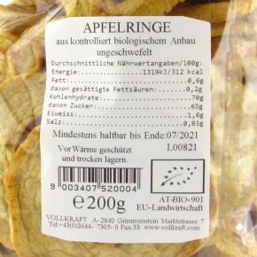 Apfelringe bio 200g Sondergrösse Vollkraft