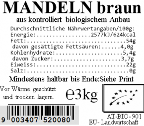 Mandeln braun bio 3kg Vollkraft