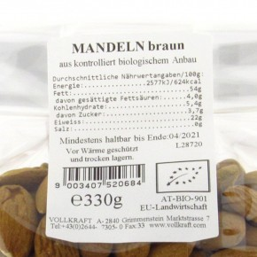 Mandeln braun bio 330g Sondergrösse Vollkraft