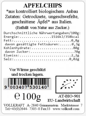 Apfelchips bio Box 100g Vollkraft