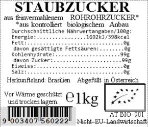 Staubzucker bio aus Rohrohrzucker 1kg Vollkraft