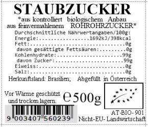 Staubzucker bio aus Rohrohrzucker 500g Vollkraft
