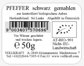 Pfeffer schwarz bio gemahlen 50g Vollkraft