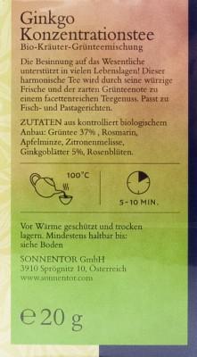 Sonnentor Ginkgo Konzentrationstee bio 20Btl.