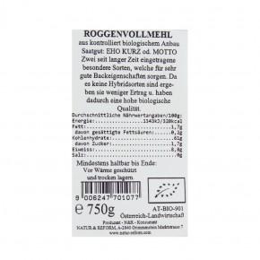 Bio Roggenvollmehl 750g Natur & Reform