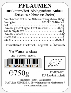 Bio Pflaumen 750g Natur & Reform