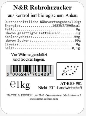 Bio Rohrohrzucker 1kg Natur & Reform