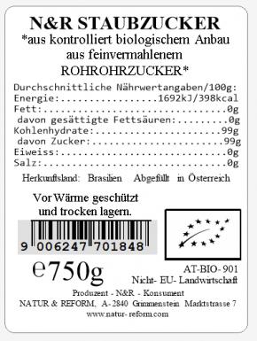 Bio Rohrstaubzucker 750g Natur & Reform
