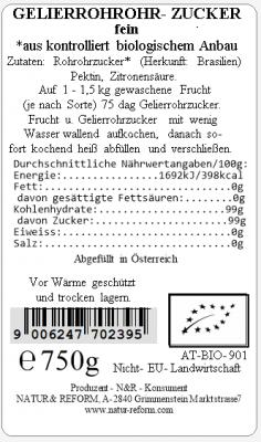 Bio Gelierrohrohrzucker 750g Natur & Reform